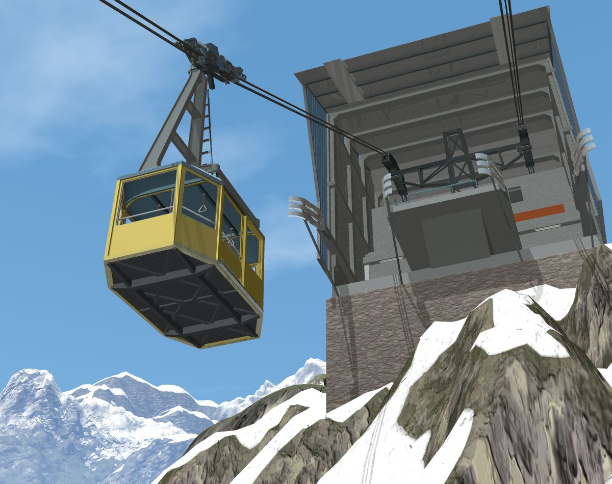 a cabin arriving at the Gleissenhorn top station